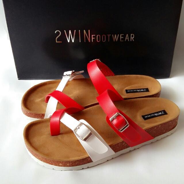 Sandal Wanita Kode SP111 (putih Merah) Ukuran 40