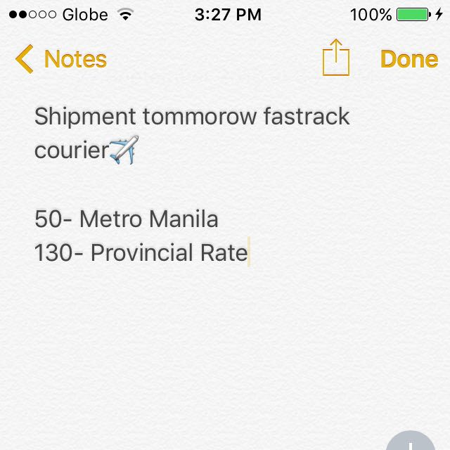 Shipment FASTRACK COURIER