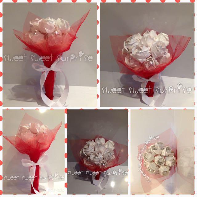 White Paper Rose Bouquet - Buket Bunga Kertas Mawar Putih isi 13 Tangkai