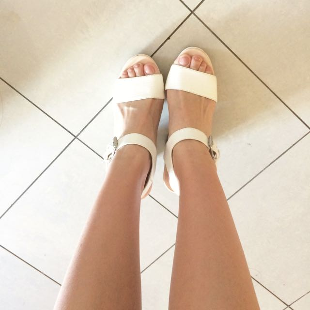White Wooden Chunk Heels