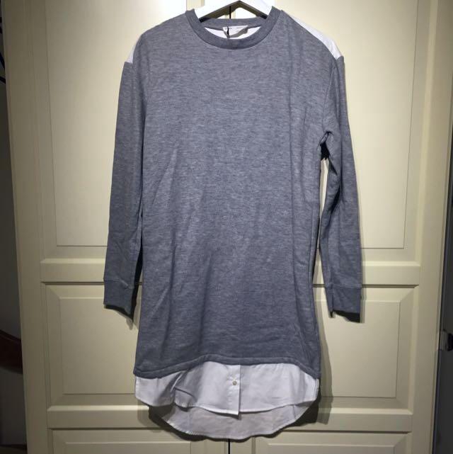 ZARA 刷毛襯衫式長版衛衣