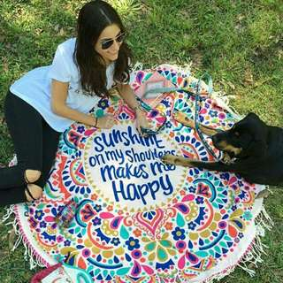 Hot Selling! Beach Picnic Yoga Round Printed Mat With Tassels