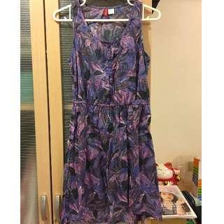 夏日H&M顯腿長紫色洋裝