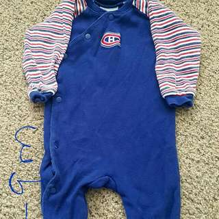 6_9 Month Montreal Canadians One Piece Footed Pjs