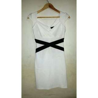 Pink Manila White Classic Dress With Black Details