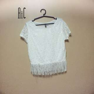 H&M White fringe tops