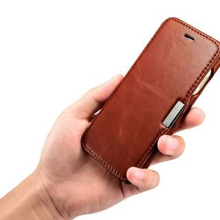 IPhone 7 Case, Real Leather, Ultra Slim, Magnetic Closure Case