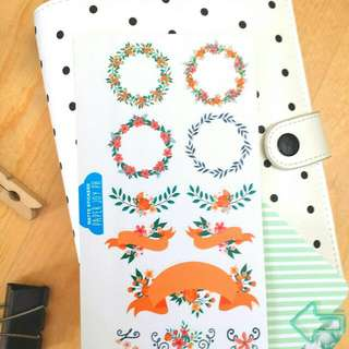 Decorative Stickers For Crafting, Scrapbooking, Journaling and Planning | orange Florals