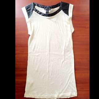 Mango White Leather Shirt