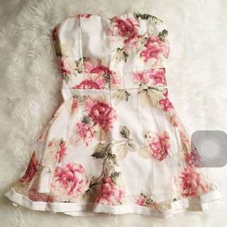 Flowery Bustier Dress Korea S