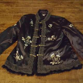 Black Embroidered Fall Jacket Size Large