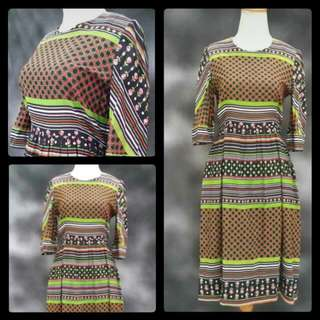 70s Dress With Ethnic Motif