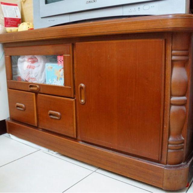 實心原木電視櫃120x55x67 好收納傢具 二手家具(不含櫃內物品)