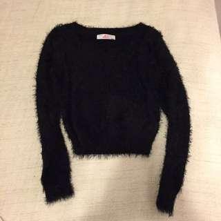 American Apparel Black Fuzzy Crop Top