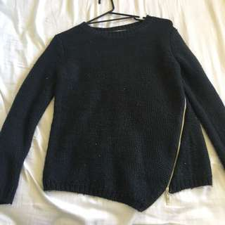 Charcoal Grey Knit Jumper With Zipper