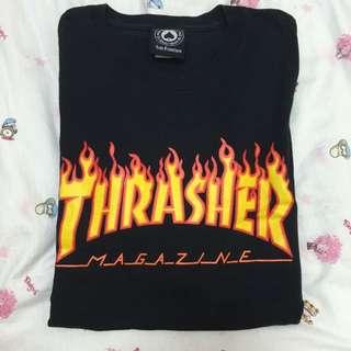 Thrasher 黑底火焰T
