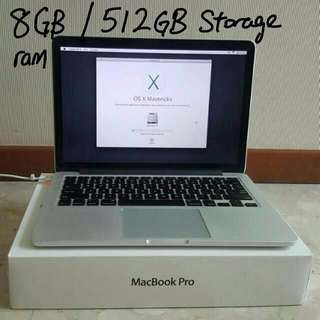 "$1250 13"" Retina Macbook 8gb 512gb"