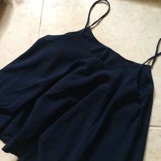 Navy Blue Chiffon Spag Top