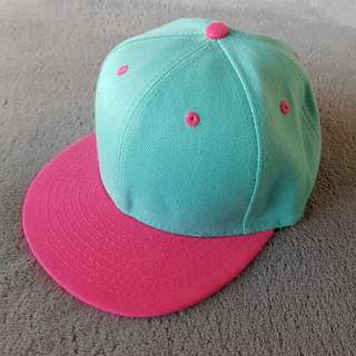 Turquoise/ pink hat