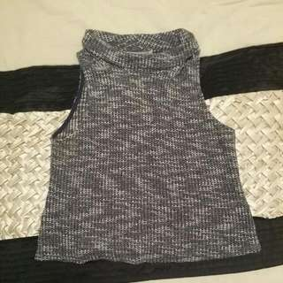 Grey And White Short Turtle Neck