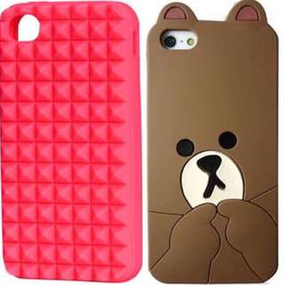 HnM Pink Stud iPhone 5/s Soft Case (left) & Line: BROWN iPhone 5/5s Soft Case (right)