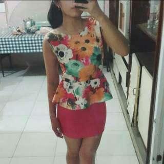 Flower Peplum Dress