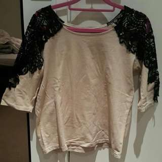 Lace See Through Shoulder Basic Top