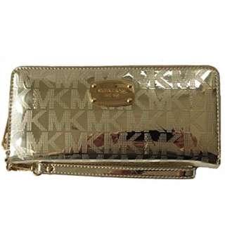 Michael Kors Jet Set Travel Continental Zip Around Wallet Wristlet (Pale Gold)