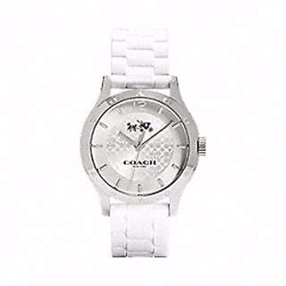 Coach Maddy Stainless Steel 40mm Rubber Strap Watch W6033 (White)ap