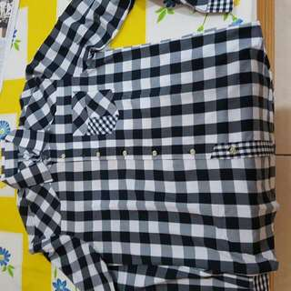 Kemeja Flannel Cowok Hitam Putih