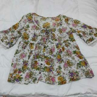 Flowery Baby Doll Blouse