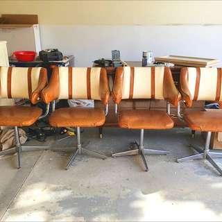 Set of 4 Midcentury Retro Leather Chairs
