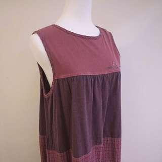 🍆古著🍆紫酒紅無袖長裙洋裝 日式田園清新小格子拼布背心裙 Vintage野餐裙長洋裝