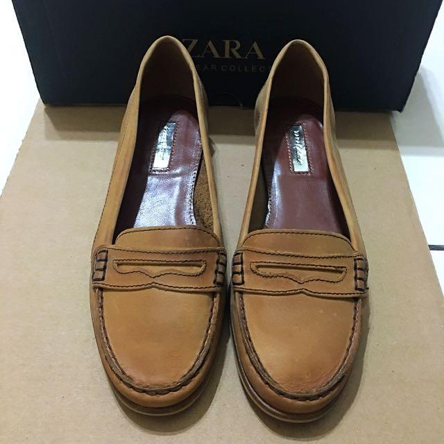 9成新Zara駝色皮製休閒鞋(牛津鞋可參考)36號