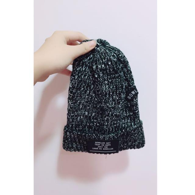 混色字母針織毛帽