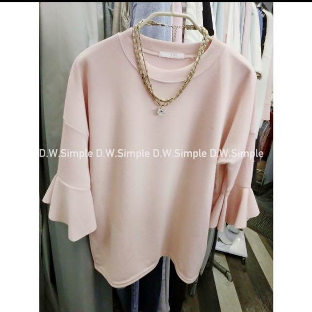 待匯款!秋冬新款🍂粉紅微針織荷葉袖