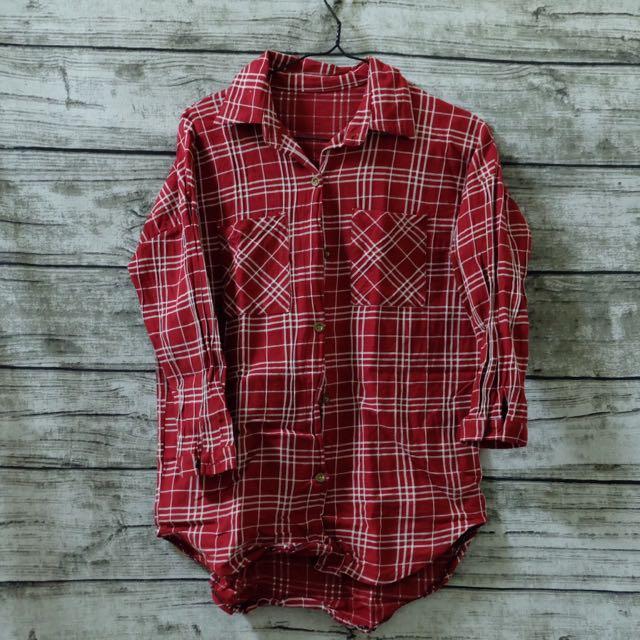 七分袖格紋襯衫