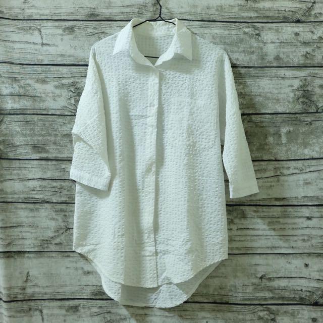 七分袖壓紋長版襯衫
