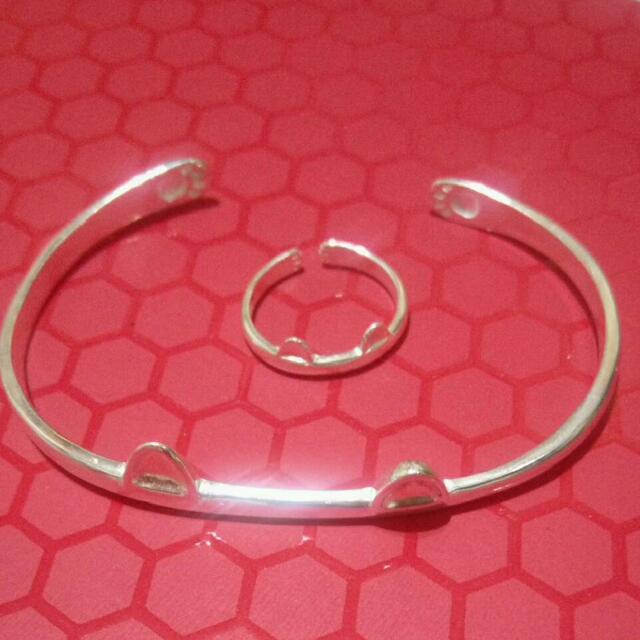 含運) 純銀 貓手鐲+貓戒指