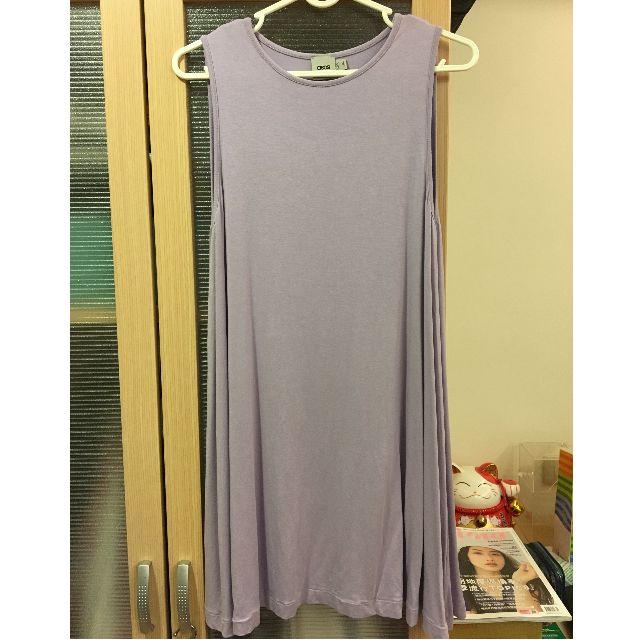 穿上一秒變波霸藕紫色ASOS圓領傘擺洋裝