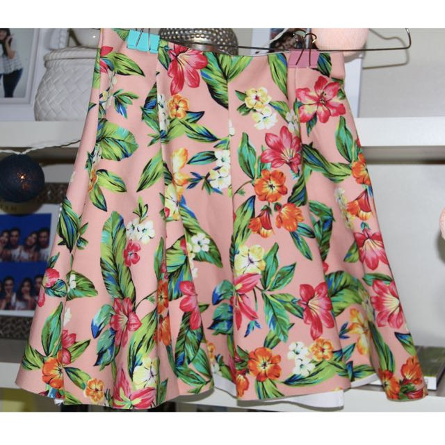 bershka orange flower mini skirt