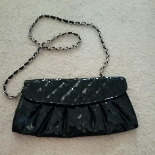Black Glossy Quilted Design Clutch
