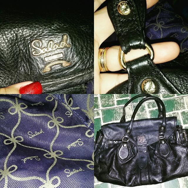 Black Salad Leather Handbag