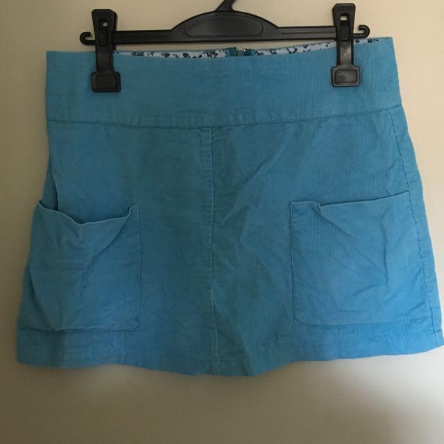 Blue Corduroy Mini Skirt