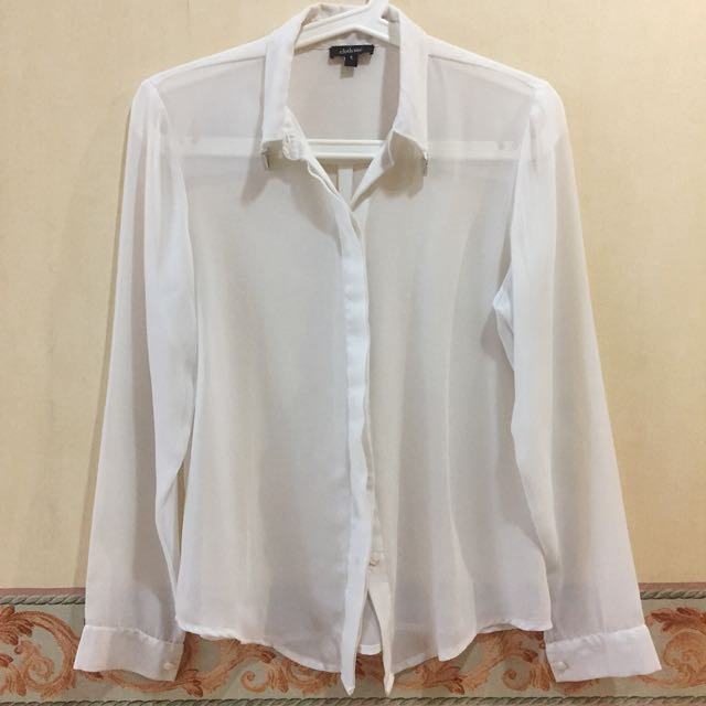 Cloth Inc White Sheer Shirt