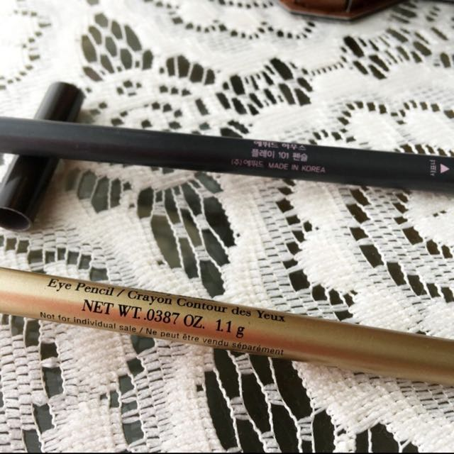 Elizabeth Arden Eye Pencil Smokey Black + Etude Korean color eyeliner