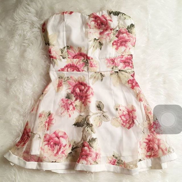 Flowery Bustier Dress Korea S