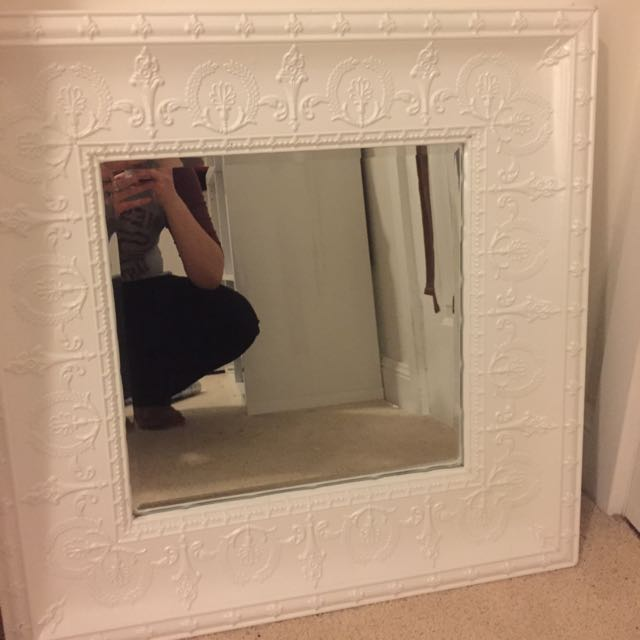 French Provincial Pressed Metal Mirror