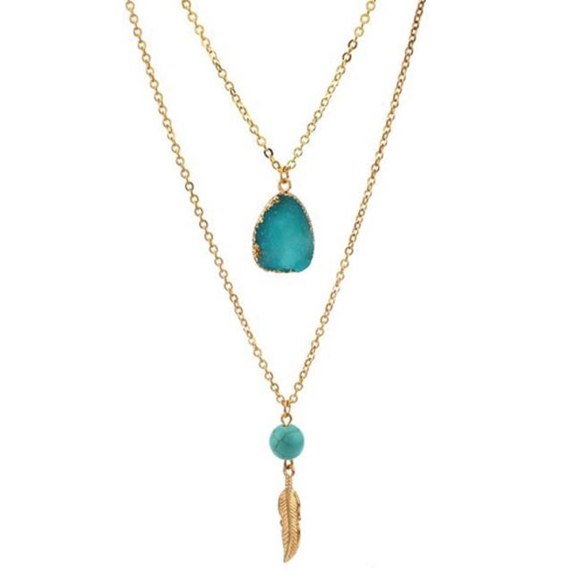 Gold Chain Necklace - Gold Dipped Green Blue Gemstone, Turqouise Bead And Feather