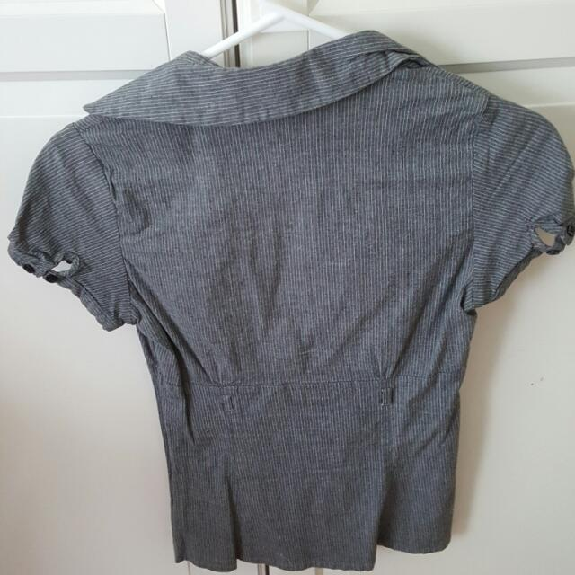 Grey Short Sleeve Button Up Top